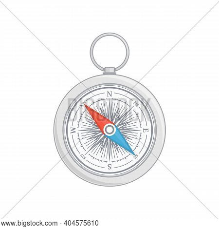 Compass Vector Icon With Wind Rose. Nautical Compass Icon Isolated On White Background. Vintage Or R