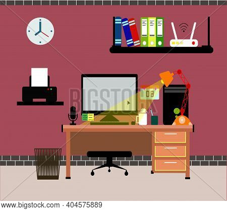 Design In A Flat Minimalist Style. Creative And Elegant Office Workspace.