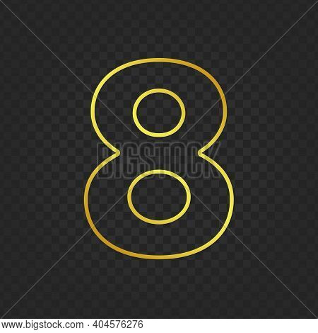 Gold Glittering Number Eight On Transparent Background. Shining Golden Number 8 Of Sparkles. Luxury