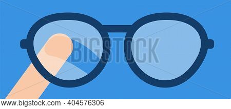 Finger Wipes The Misted Glass Of The Eyeglasses. Vector Flat Illustration. Concept Of The Problem Of