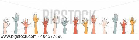 Raised Hands. Teamwork, Collaboration, Voting, Volunteering Concert. Applause Hand Drawn. Vector Ill