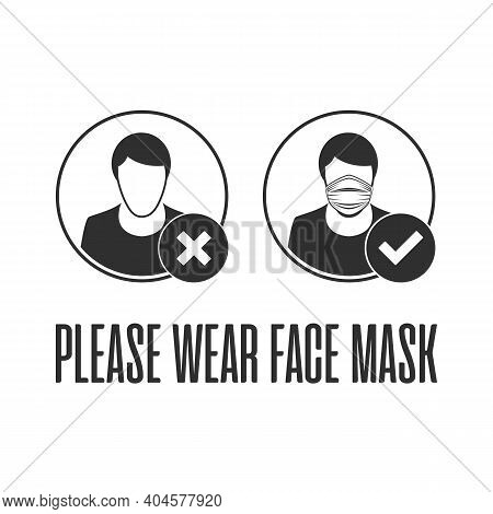Please Wear Face Mask Illustration In Flat Style. Medical Masks On Man And Woman Faces. Virus Protec