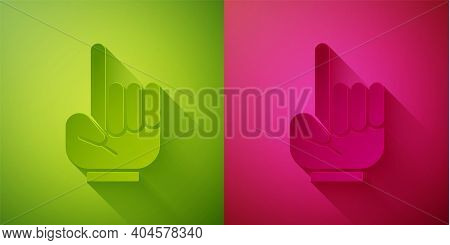 Paper Cut Number 1 One Fan Hand Glove With Finger Raised Icon Isolated On Green And Pink Background.