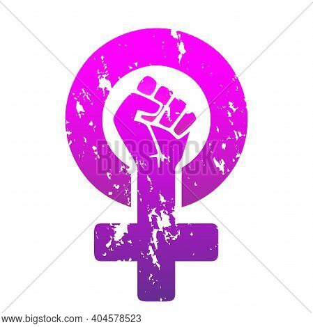 The Symbol Of The Feminist Movement Is A Female Gender Symbol And A Raised Fist, Purple Gradient Col