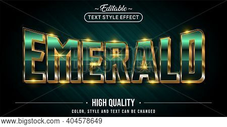 Editable Text Style Effect - Emerald Text Style Theme. Graphic Design Element.