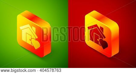 Isometric House With Heart Shape Icon Isolated On Green And Red Background. Love Home Symbol. Family