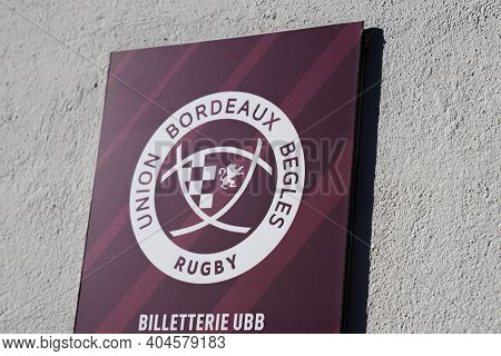 Bordeaux , Aquitaine  France - 01 18 2021 : Rugby Bordeaux Union Begles Ticket Office Logo And Text