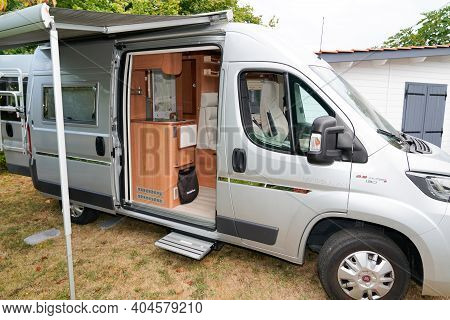 Bordeaux , Aquitaine  France - 01 18 2021 : Fiat Ducato Rv Holiday Grey Motor Home With Open Awning
