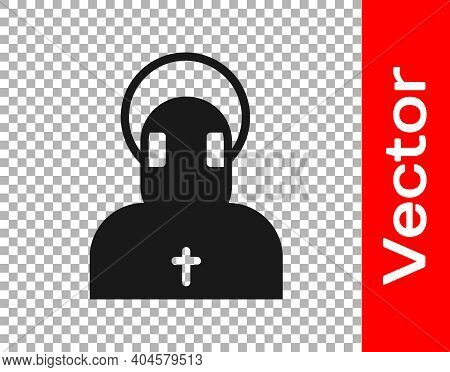 Black Monk Icon Isolated On Transparent Background. Vector