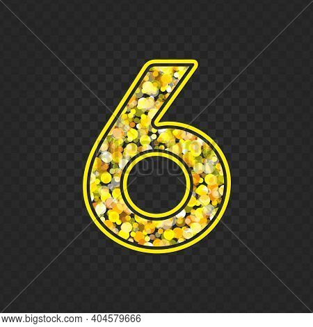 Gold Glittering Number Six On Transparent Background. Shining Golden Number 6 Of Sparkles. Luxury Go