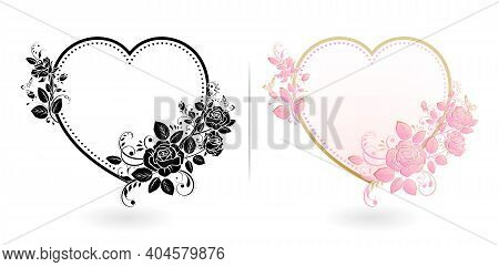 Love With Rose Flower Frames, Heart With Rose Flowers And Butterflies. Heart With Floral Ornament, I