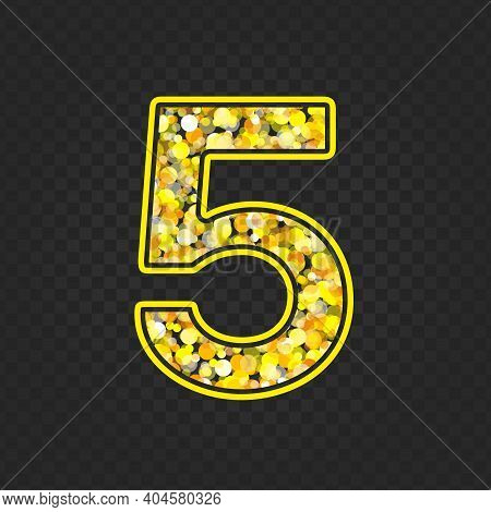 Gold Glittering Number Five On Transparent Background. Shining Golden Number 5 Of Sparkles. Luxury G