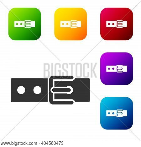 Black Collar With Name Tag Icon Isolated On White Background. Simple Supplies For Domestic Animal. C