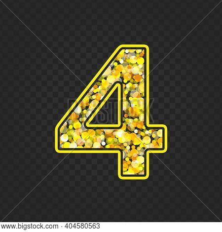 Gold Glittering Number Four On Transparent Background. Shining Golden Number 4 Of Sparkles. Luxury G