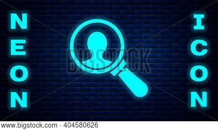 Glowing Neon Magnifying Glass For Search A People Icon Isolated On Brick Wall Background. Recruitmen