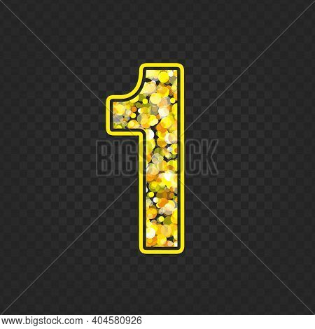 Gold Glittering Number One On Transparent Background. Shining Golden Number 1 Of Sparkles. Luxury Go