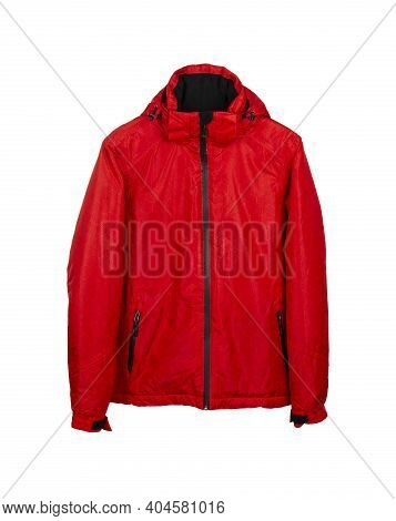 Red Ski Waterproof And Windproof Jacket Isolated On White Background.