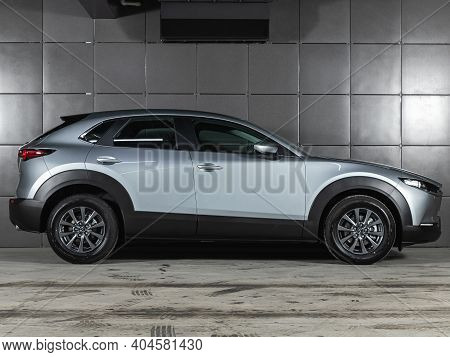Novosibirsk, Russia - January 14 2021: Silver Mazda Cx30, Side View.  Photography Of A Modern Crosso