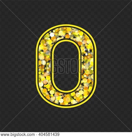 Gold Glittering Number Zero On Transparent Background. Shining Golden Number 0 Of Sparkles. Luxury G