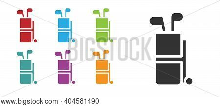 Black Golf Bag With Clubs Icon Isolated On White Background. Set Icons Colorful. Vector
