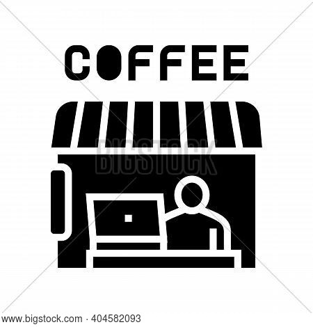 Remote Working In Cafeteria Glyph Icon Vector. Remote Working In Cafeteria Sign. Isolated Contour Sy