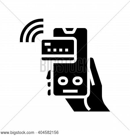 Pay Pass Card Phone Glyph Icon Vector. Pay Pass Card Phone Sign. Isolated Contour Symbol Black Illus