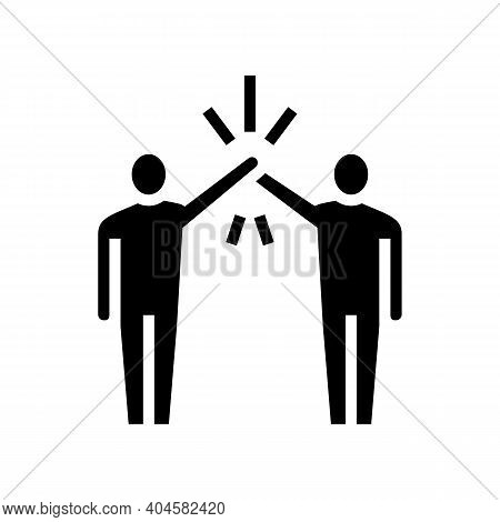 Colleagues Greeting Glyph Icon Vector. Colleagues Greeting Sign. Isolated Contour Symbol Black Illus
