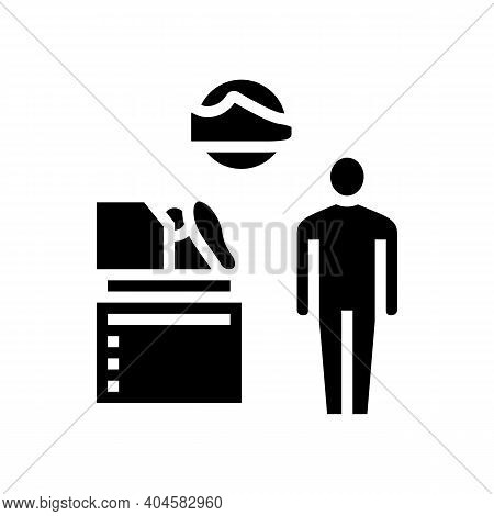 Shoes Make Equipment Control Glyph Icon Vector. Shoes Make Equipment Control Sign. Isolated Contour
