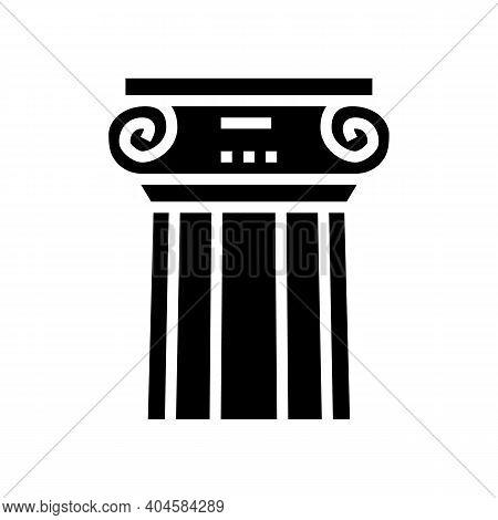 Greek Column Glyph Icon Vector. Greek Column Sign. Isolated Contour Symbol Black Illustration