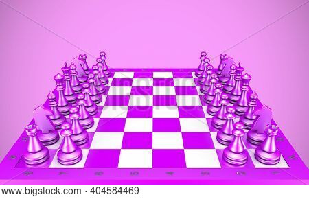 3d Rendering Checkerboard In Purple Colors Close Up