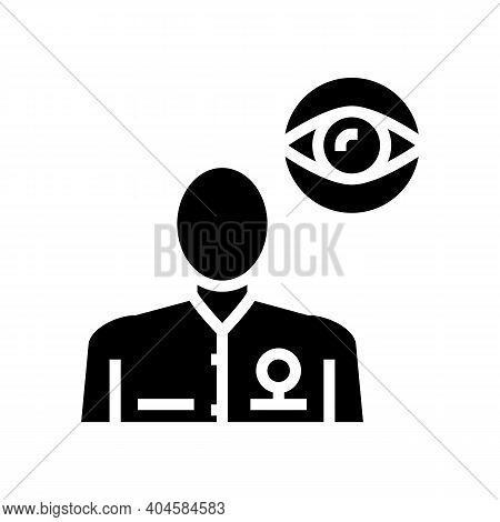 Ophthalmology Medical Specialist Glyph Icon Vector. Ophthalmology Medical Specialist Sign. Isolated