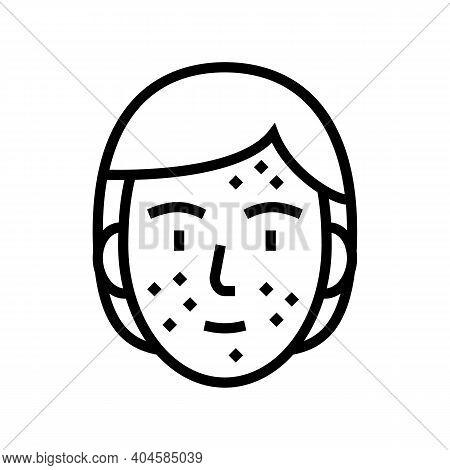 Face Skin Rash Line Icon Vector. Face Skin Rash Sign. Isolated Contour Symbol Black Illustration