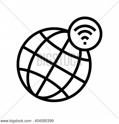 Worldwide Wifi Connection Line Icon Vector. Worldwide Wifi Connection Sign. Isolated Contour Symbol