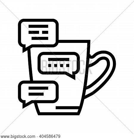 Coffee Break Communication Line Icon Vector. Coffee Break Communication Sign. Isolated Contour Symbo
