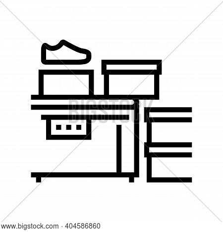 Shoes Packaging Conveyor Line Icon Vector. Shoes Packaging Conveyor Sign. Isolated Contour Symbol Bl