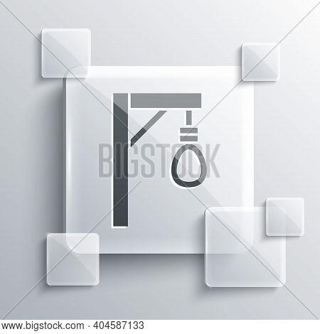 Grey Gallows Rope Loop Hanging Icon Isolated On Grey Background. Rope Tied Into Noose. Suicide, Hang
