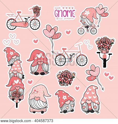 Cute Valentine Gnome Sweet Pink Love Collection, Gnome On Bicycle Sticker Printable Set.