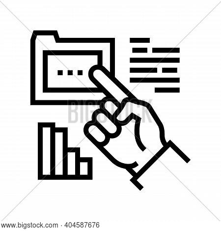 Hand Showing On Folder Line Icon Vector. Hand Showing On Folder Sign. Isolated Contour Symbol Black
