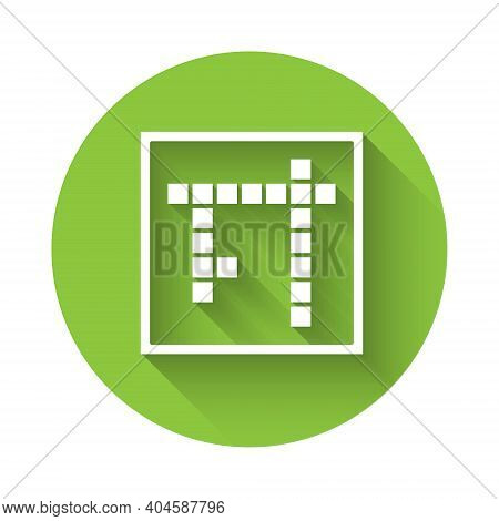 White Bingo Icon Isolated With Long Shadow. Lottery Tickets For American Bingo Game. Green Circle Bu