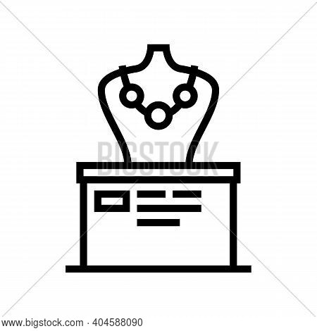 Precious Necklace Exhibit Line Icon Vector. Precious Necklace Exhibit Sign. Isolated Contour Symbol
