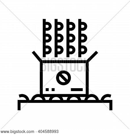 Medicine Pills Packaging Line Icon Vector. Medicine Pills Packaging Sign. Isolated Contour Symbol Bl