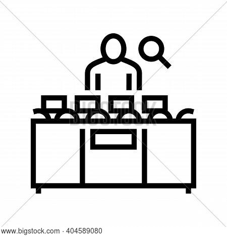 Worker Controle Manufacturing Process Line Icon Vector. Worker Controle Manufacturing Process Sign.