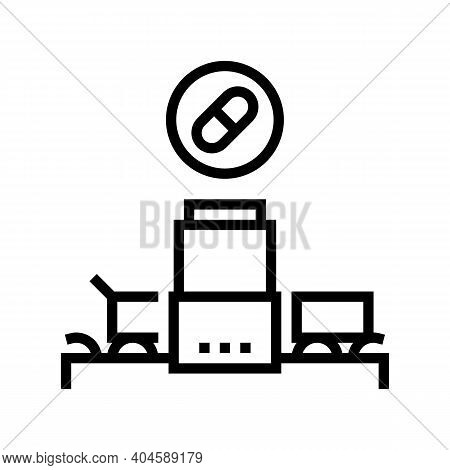 Medicine Manufacturing Plant Line Icon Vector. Medicine Manufacturing Plant Sign. Isolated Contour S