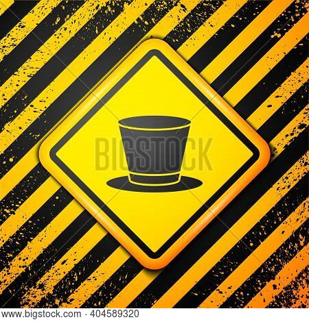 Black Cylinder Hat Icon Isolated On Yellow Background. Warning Sign. Vector