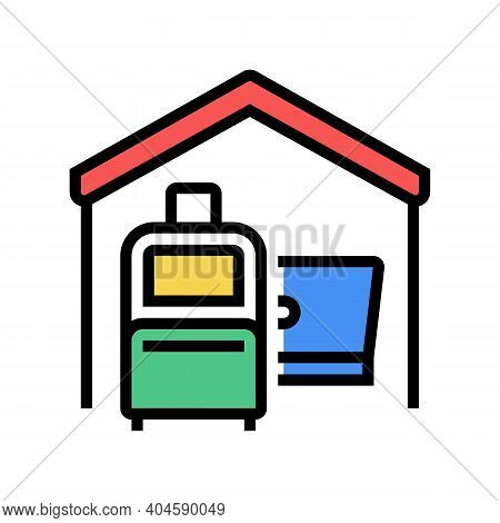 Baggage And Laptop In House Color Icon Vector. Baggage And Laptop In House Sign. Isolated Symbol Ill