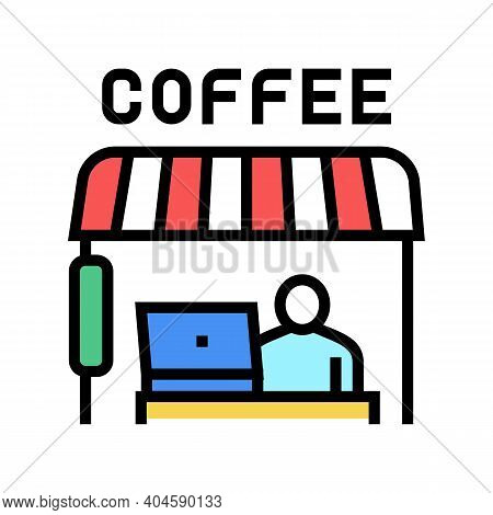 Remote Working In Cafeteria Color Icon Vector. Remote Working In Cafeteria Sign. Isolated Symbol Ill