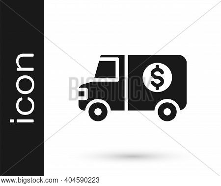 Black Armored Truck Icon Isolated On White Background. Vector