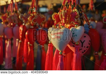Maehongson, Thailand - December 14, 2020: Chinese Culture In Travel Destinations At Yun Lai Viewpoin