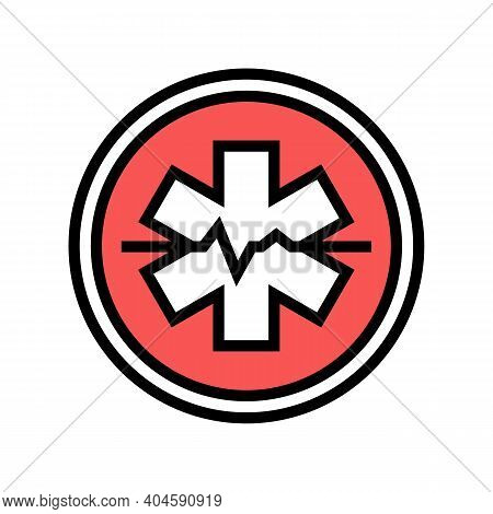 Emergency Ambulance Hospital Sign Color Icon Vector. Emergency Ambulance Hospital Sign Sign. Isolate