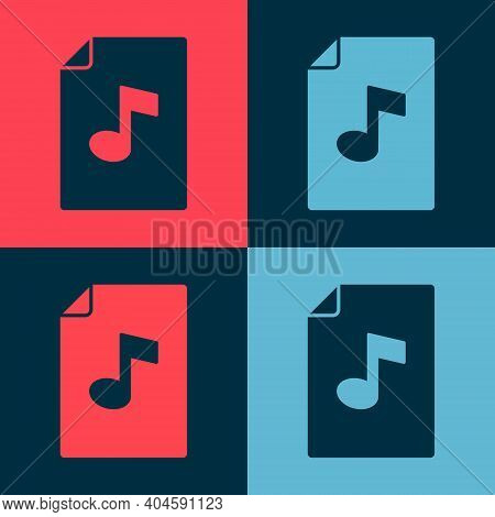 Pop Art Music Book With Note Icon Isolated On Color Background. Music Sheet With Note Stave. Noteboo